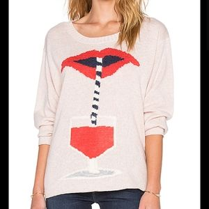 NWT WILDFOX Pink Graphic Oversized Sweater Small